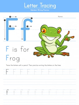 Letter f tracing animal alphabet f voor kikker
