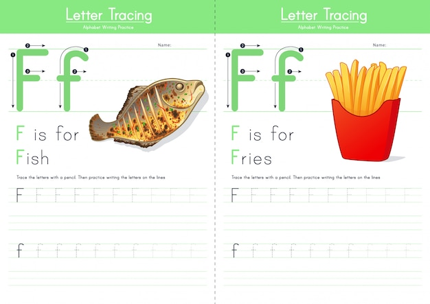 Letter f tracing food alphabet