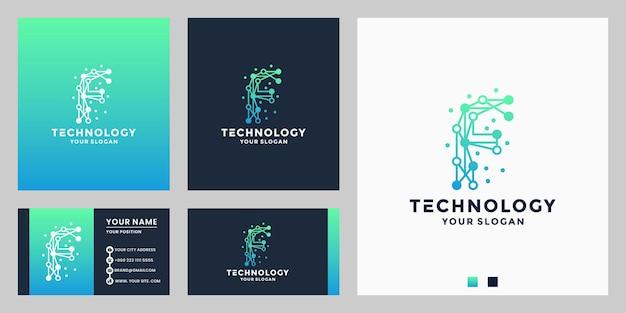 Letter f voor technologie logo design dot concept met visitekaartje
