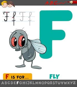 Letter f werkblad met cartoon vlieg
