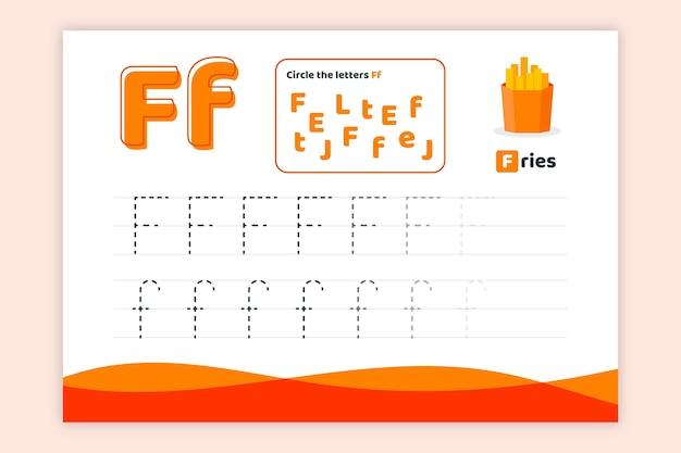Letter f-werkblad met frietjes