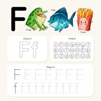 Letter f-werkblad met kikker, vis, frietjes