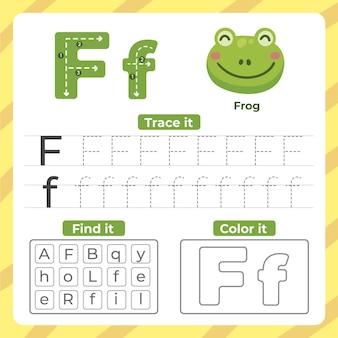 Letter f-werkblad met kikker
