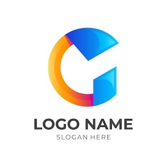 Letter g-logosjabloon met 3d-kleurrijke stijl