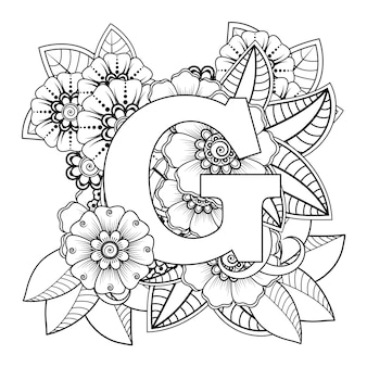 Letter g met mehndi bloem decoratief ornament in etnische oosterse stijl kleurboekpagina
