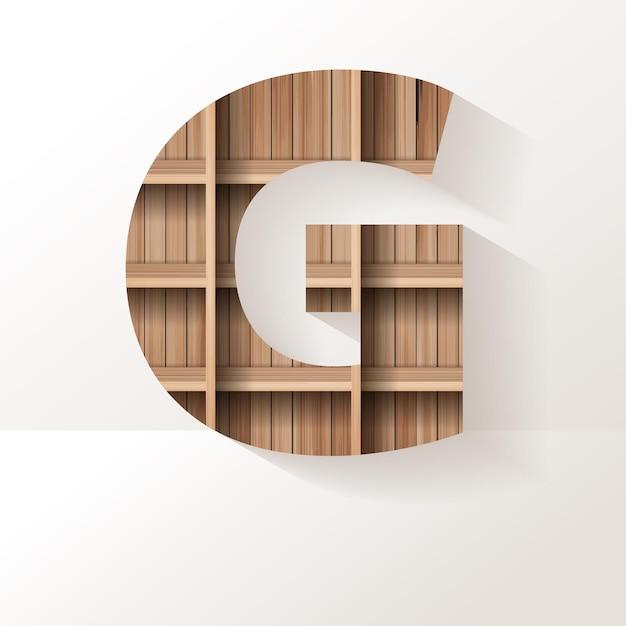Letter g-ontwerp van houten plank