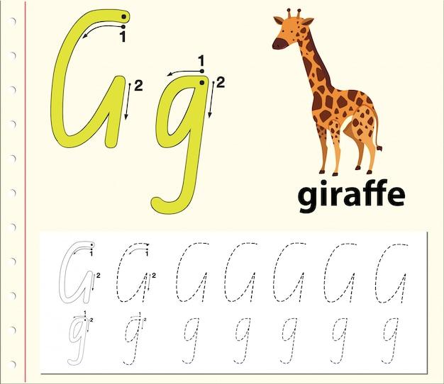 Letter g tracing alfabet werkbladen