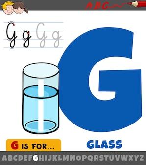 Letter g uit alfabet met cartoon glas water