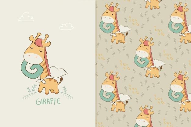 Letter g voor girafpatroon