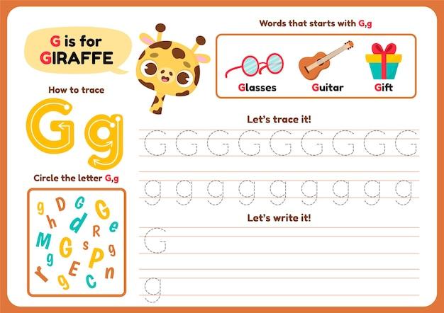 Letter g-werkblad met schattige giraf