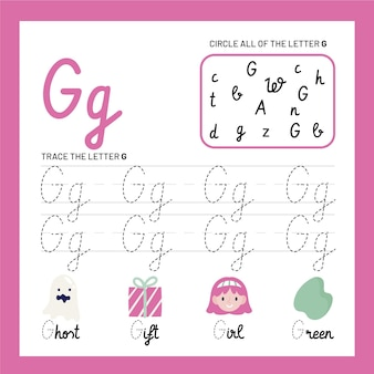 Letter g-werkbladsjabloon