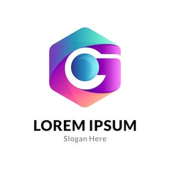 Letter g zeshoek logo bedrijfsconcept