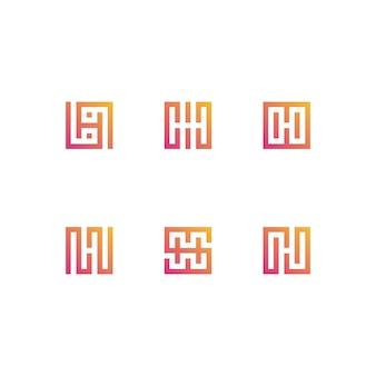 Letter h logo ingesteld in gradiënten