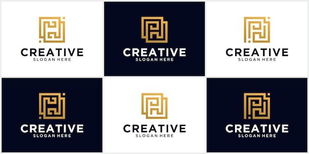 Letter h logo logo, pictogram, symbool oneindig lijn eerste letter h logo ontwerpsjabloon