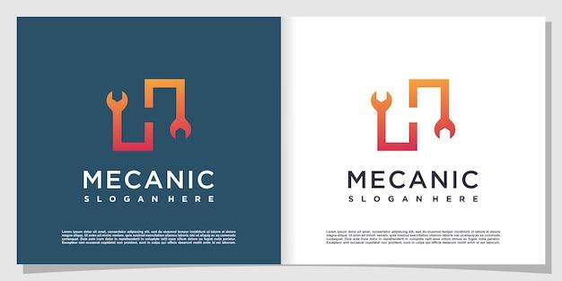 Letter h-logo met mechanisch concept premium vector