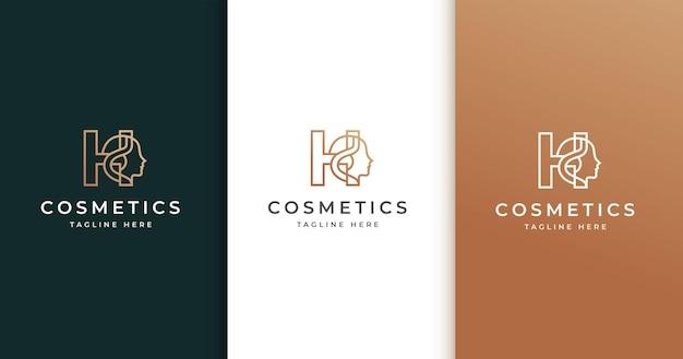 Letter h-logo-ontwerp met het gezicht van de vrouw