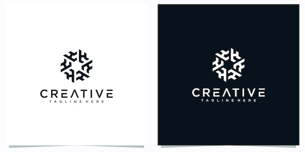 Letter h logo ontwerpen abstract. letter hf creatieve logo-inspiraties.