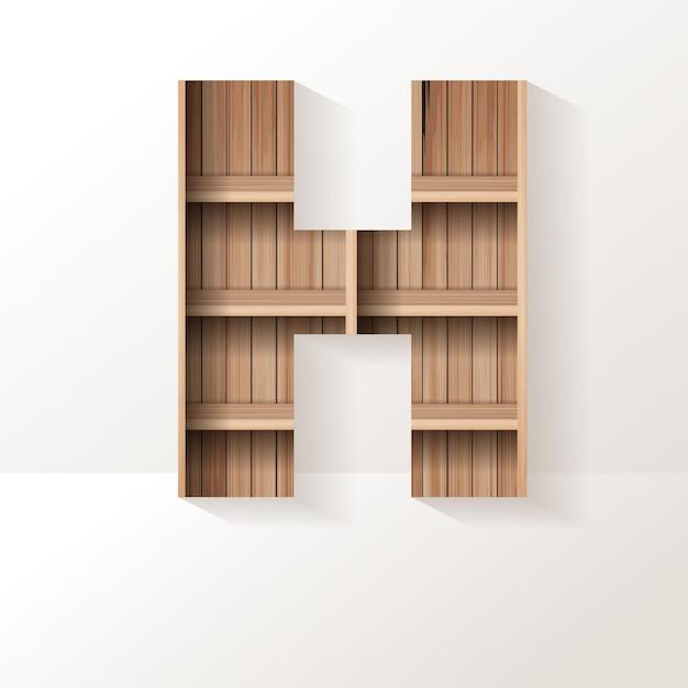 Letter h-ontwerp van houten plank