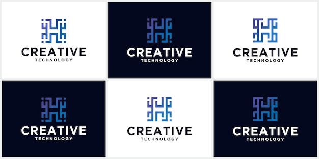 Letter h technologie logo, pictogram, symbool oneindig lijn eerste letter h logo ontwerpsjabloon