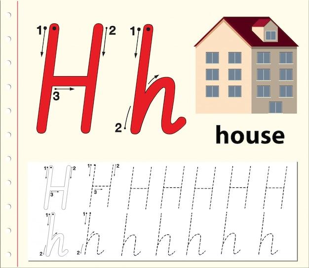 Letter h tracing alfabet werkbladen