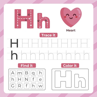 Letter h-werkblad met hart