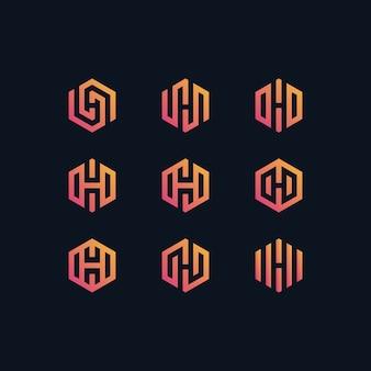 Letter h zeshoek logo ingesteld in verloop