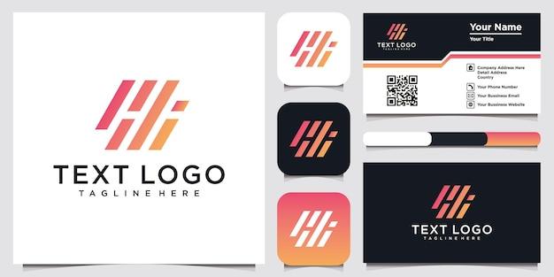 Letter hi-logo-ontwerp met sjabloon voor visitekaartjes, creatief minimaal monochroom monogramsymbool