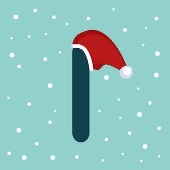 Letter i met sneeuw en rode kerstman hoed. feestelijk lettertype voor kerstmis en nieuwjaar