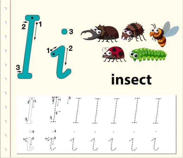 Letter i tracing alfabet werkblad