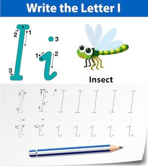 Letter i tracing alfabet werkbladen