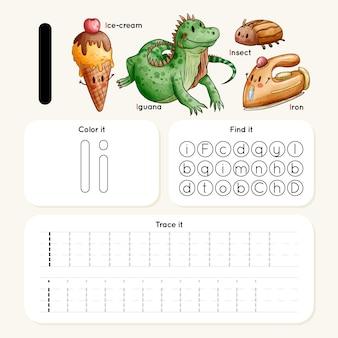 Letter i-werkblad met dieren en items