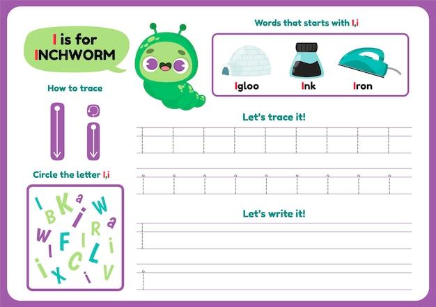 Letter i-werkblad met inchworm