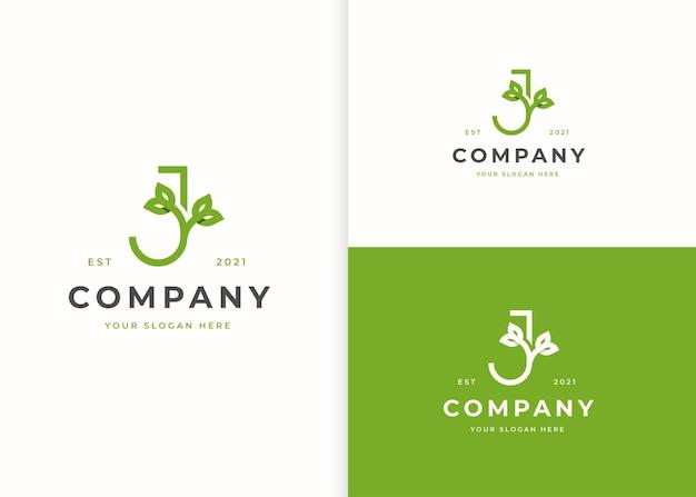 Letter j-logo met bladpictogramontwerp
