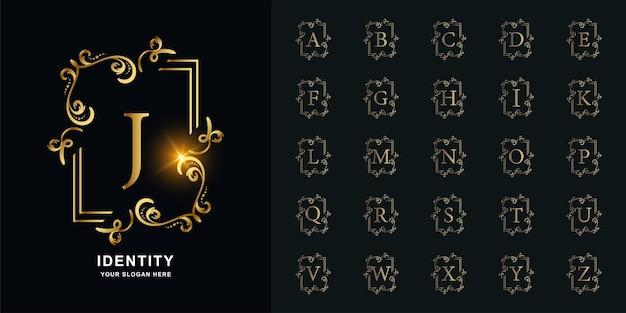 Letter j of collectie eerste alfabet met luxe sieraad bloemen frame gouden logo sjabloon.