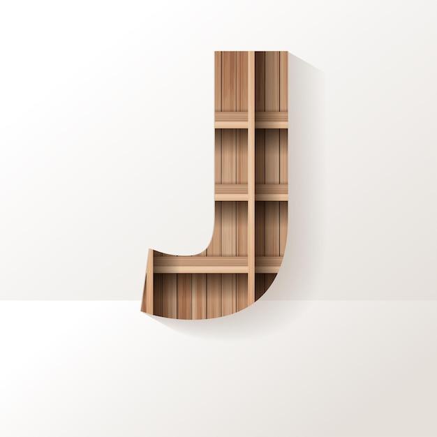 Letter j-ontwerp van houten plank