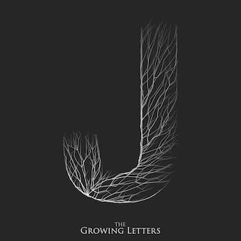 Letter j van tak of gebarsten alfabet. j-symbool bestaande uit groeiende witte lijnen.