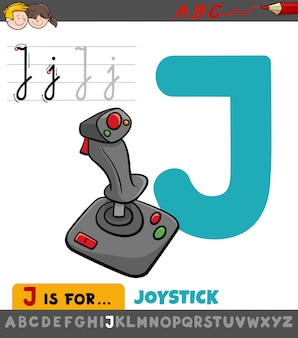 Letter j werkblad met cartoon joystick