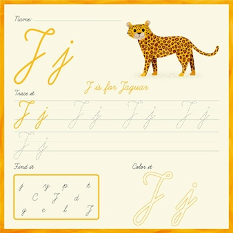 Letter j-werkblad met jaguar