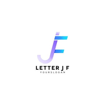 Letter jf kleurrijke logo ontwerpsjabloon