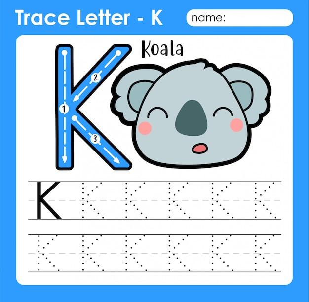 Letter k hoofdletters - alfabetletters overtrekken werkblad met koala