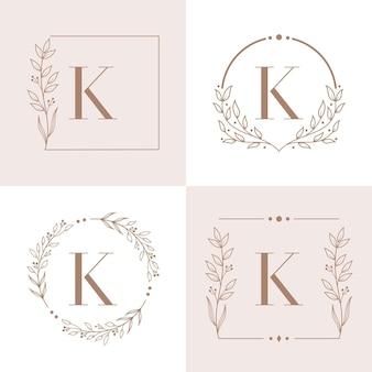 Letter k-logo met bloemenframe achtergrondsjabloon