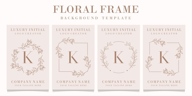 Letter k-logo met bloemenkadersjabloon