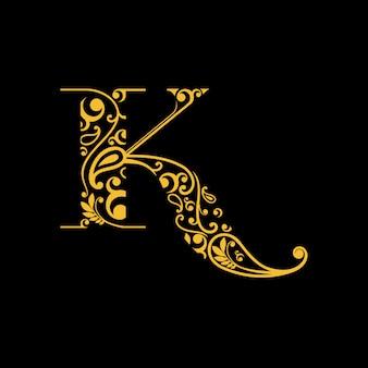 Letter k-logo met traditionele gravure / batik uit indonesië