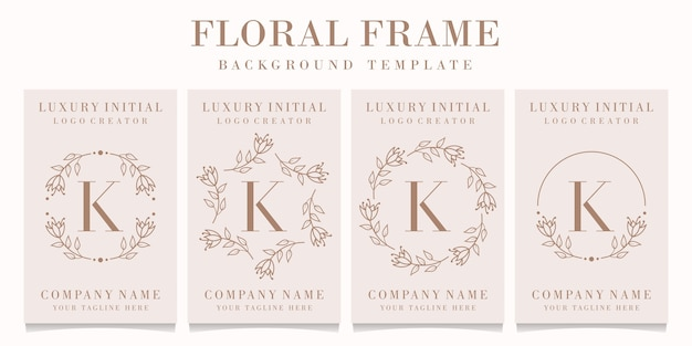 Letter k logo-ontwerp met bloemenkadersjabloon