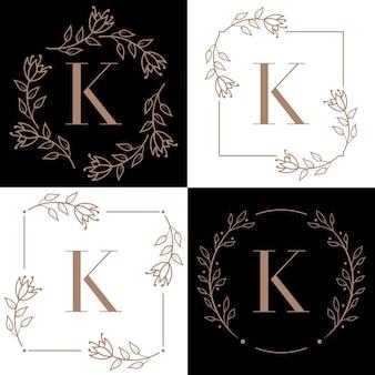 Letter k logo-ontwerp met orchidee bladelement