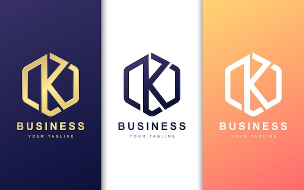 Letter k logo ontwerpsjabloon met geometrische vormstijl
