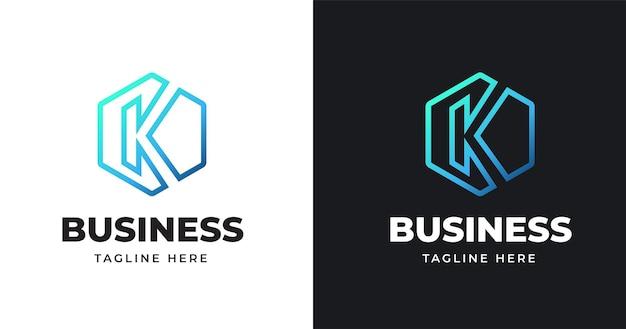 Letter k logo vectorillustratie van ontwerp met geometrische lijnen