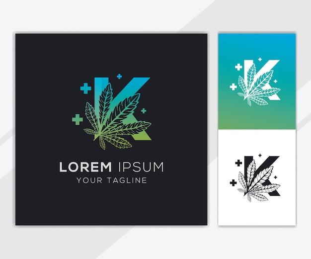 Letter k met abstracte cannabis logo sjabloon