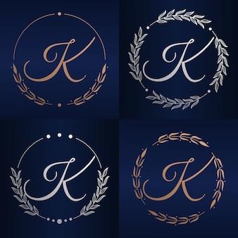Letter k met bloemenframe logo sjabloon