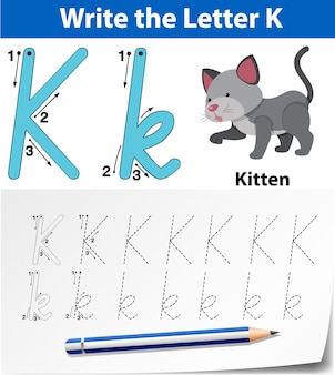 Letter k tracing alfabet werkbladen